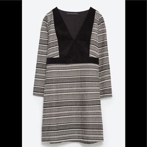 Zara Knit Print and Faux Suede Dress